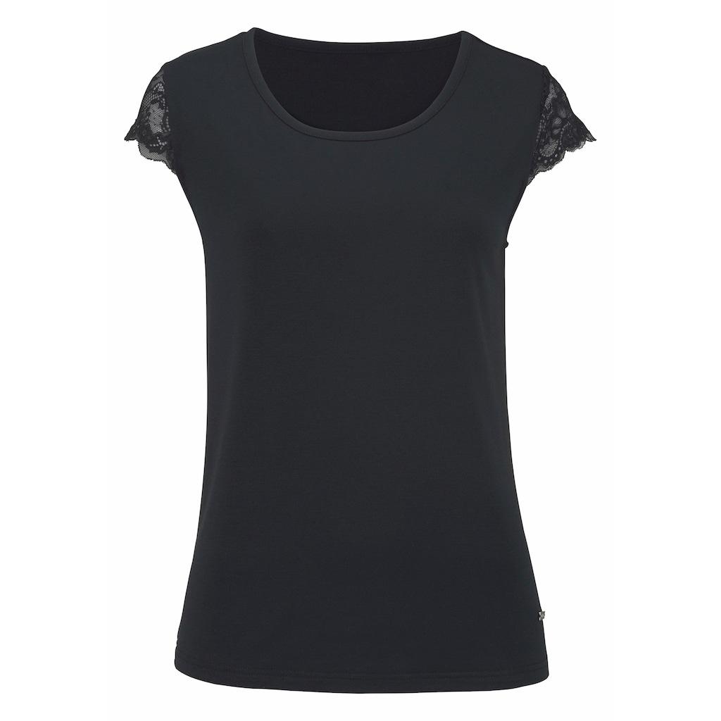 LASCANA T-Shirt, mit Spitzenärmeln