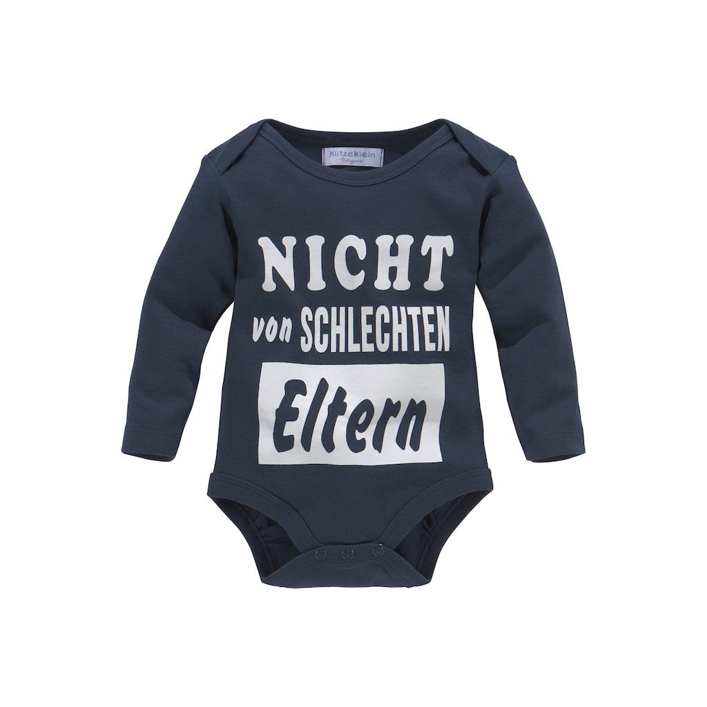 Klitzeklein Langarmbody »Nicht von schlechten Eltern«, aus Bio-Baumwolle