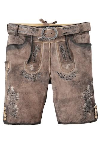 MarJo Trachtenlederhose, (2 tlg., mit Gürtel), kurz Herren im Used Look kaufen
