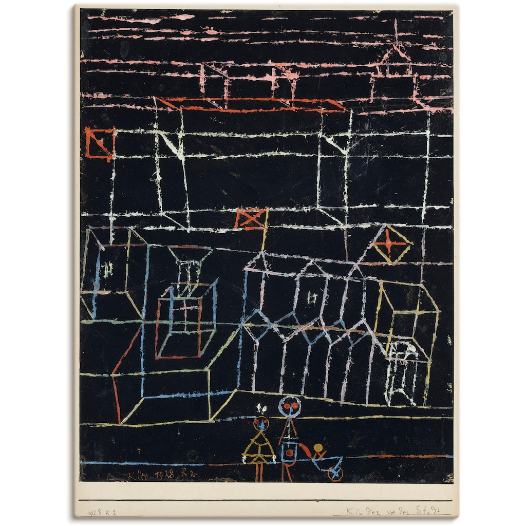 Artland Wandbild »Kinder vor der Stadt. 1928.«, Muster, (1 St.), in vielen Größen & Produktarten -Leinwandbild, Poster, Wandaufkleber / Wandtattoo auch für Badezimmer geeignet