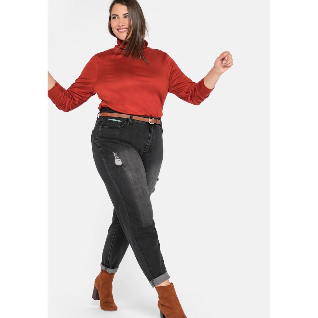 Sheego Stretch-Jeans, Mom mit Destroyed-Effekten
