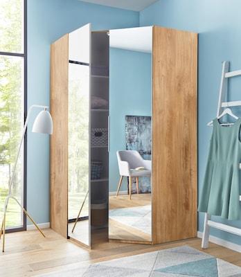 Eckkleiderschrank mit Holzdekor und Spiegeltüren