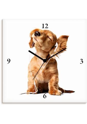 Artland Wanduhr »Junger Hund hört Musik über Kopfhörer« kaufen