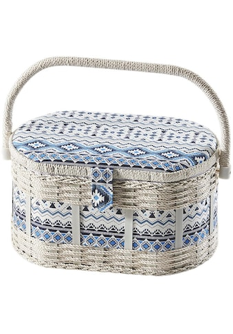 locker Nähkästchen, oval, aus Kunststoff und Textil mit blau weißem Muster kaufen