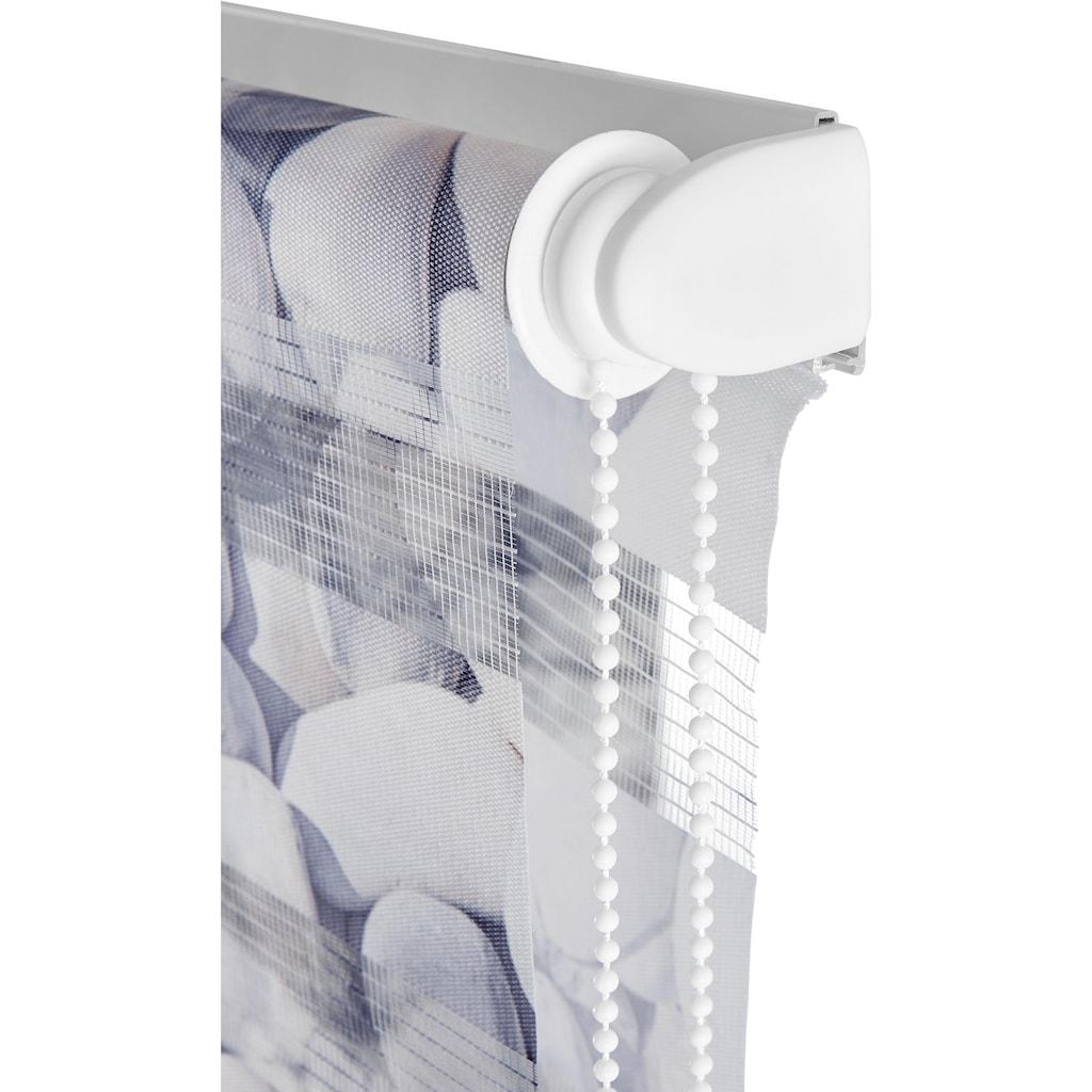my home Doppelrollo »Steine«, Lichtschutz, ohne Bohren, freihängend, im Fixmaß