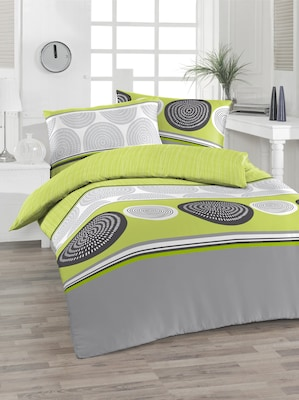Grün-Grau gemusterte Bettwäsche
