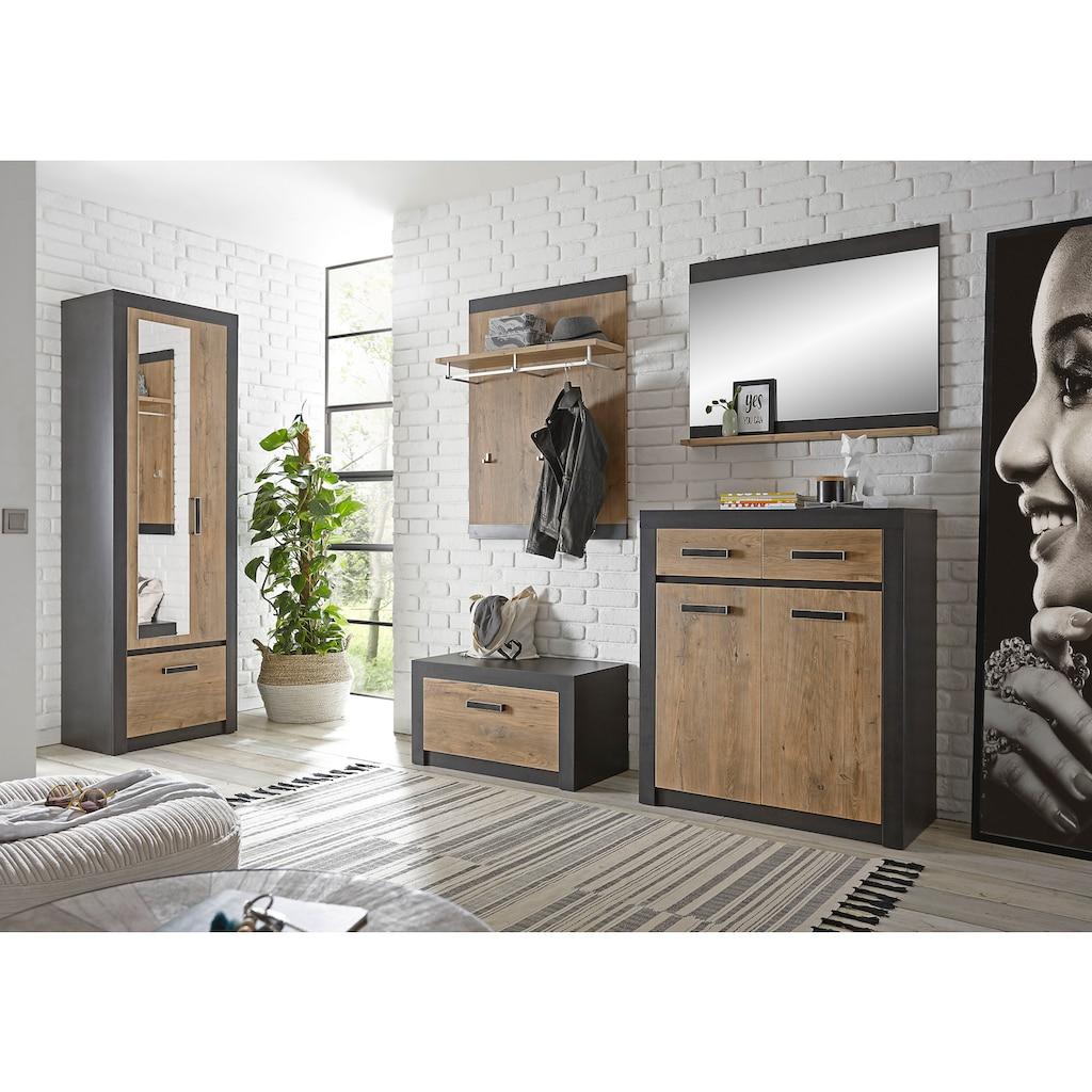 my home Garderoben-Set »BRÜGGE«, (Komplett-Set, 5 St., bestehend aus Garderobenschrank mit Spiegel, Kommde, Spiegel, Garderobenbank und -paneel), mit einer dekorativen Rahmenoptik