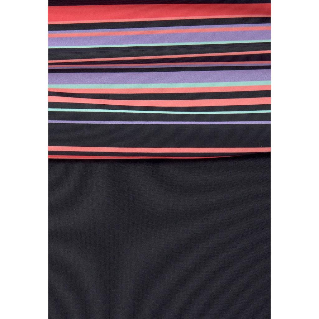 LASCANA Badeanzug, mit Printeinsatz und geraffter Mitte