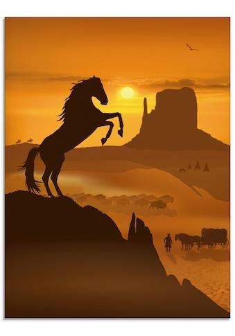 Artland Glasbild »Freiheit für den schwarzen Mustang«, Haustiere, (1 St.) kaufen