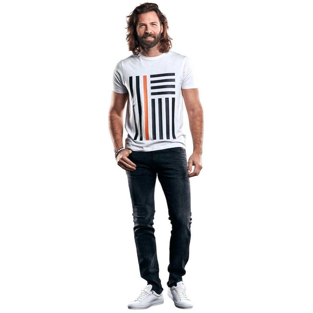 emilio adani Bio-Baumwoll-T-Shirt mit erhobenem Statement-Print