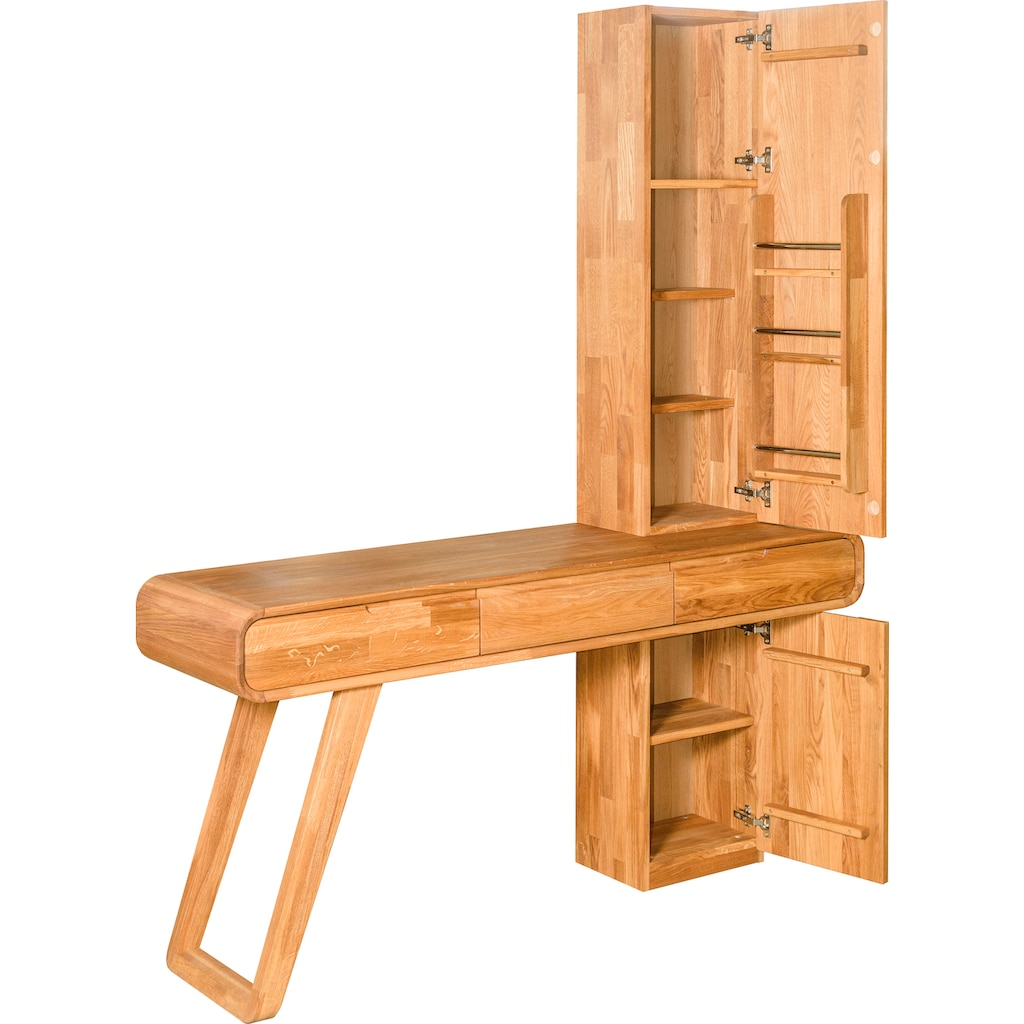andas Schminktisch »Eileen«, aus massivem Eichenholz, mit viel Stauraum, Breite 160 cm, auch als Laptoptisch Home office geeignet