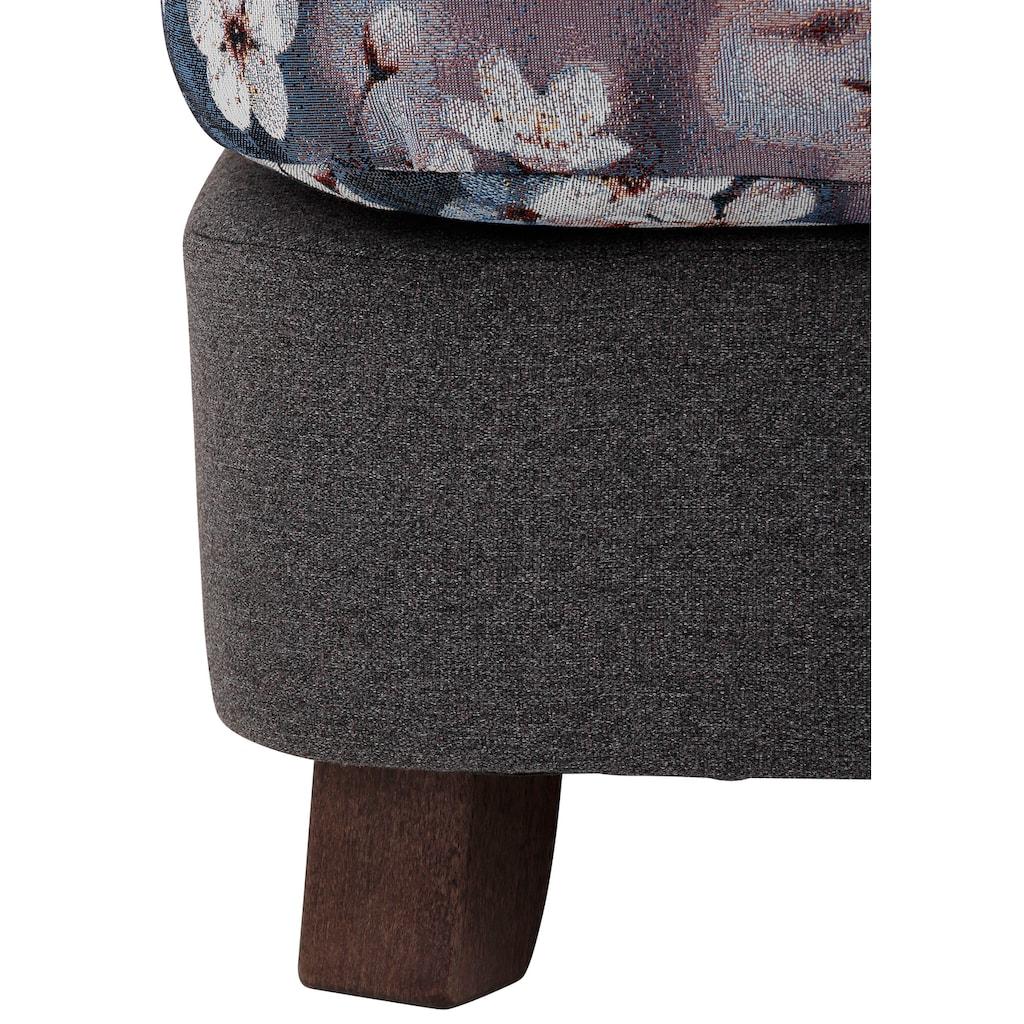 Home affaire XXL-Sessel »Oase II«, Mega-Sessel XXL incl. Zierkissen, Love-Seat - tolle Kombination aus Uni-Stoff mit Blumenmuster