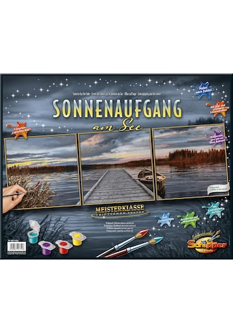 Schipper Malen nach Zahlen »Meisterklasse Triptychon, Sonnenaufgang am See«, Made in Germany kaufen
