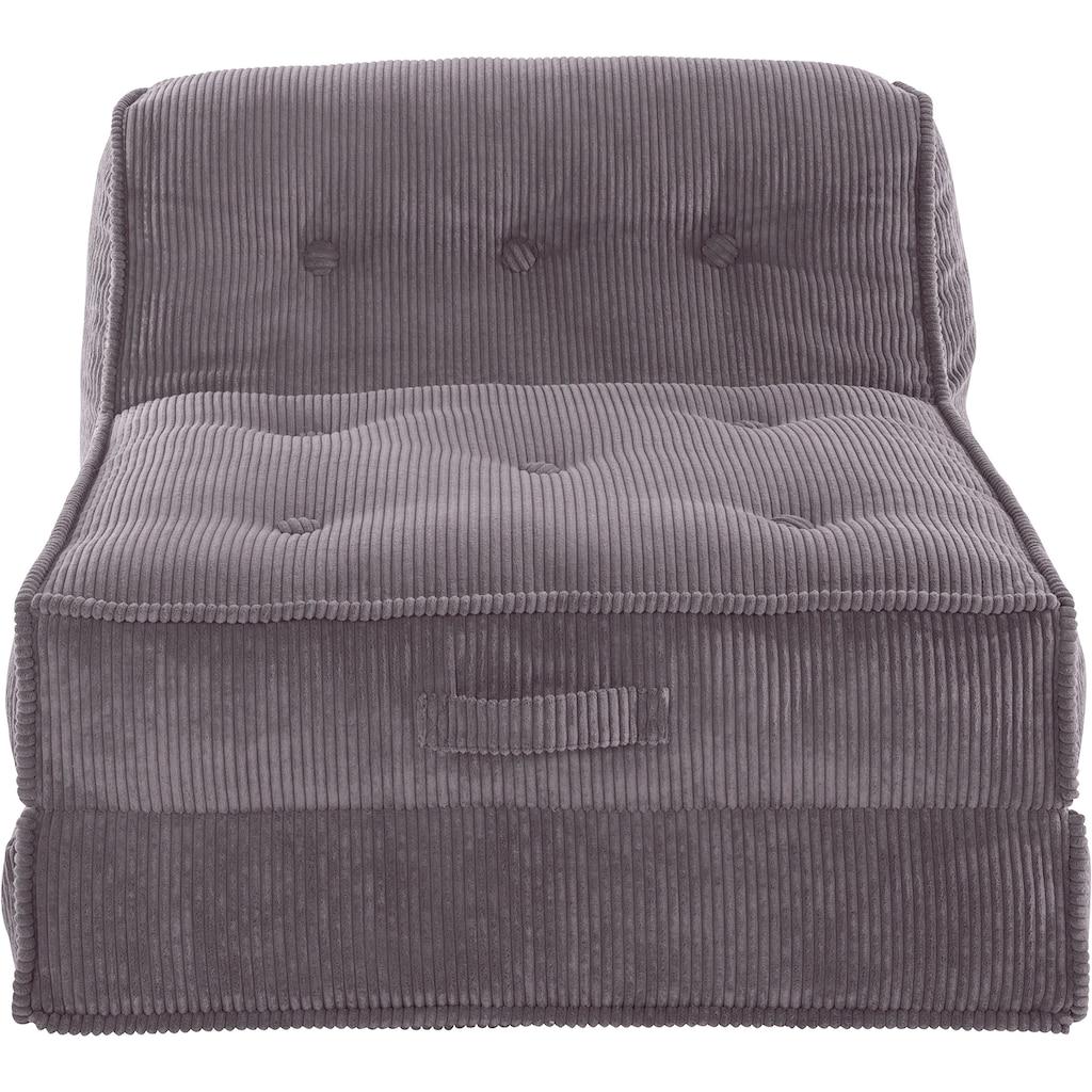 INOSIGN Sessel »Missy«, Loungesessel aus weichem Cord, in 2 Größen, mit Schlaffunktion und Pouf-Funktion.
