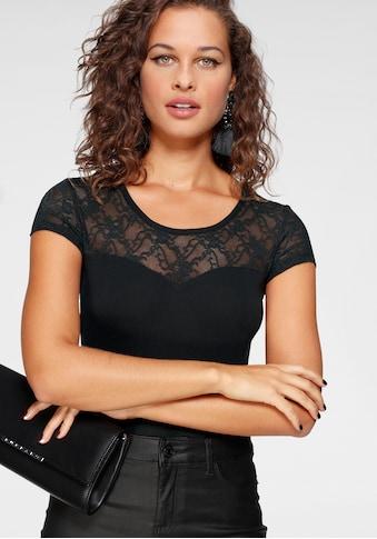 Melrose Rundhalsshirt, mit Spitze und transparentem Spitzenrücken kaufen