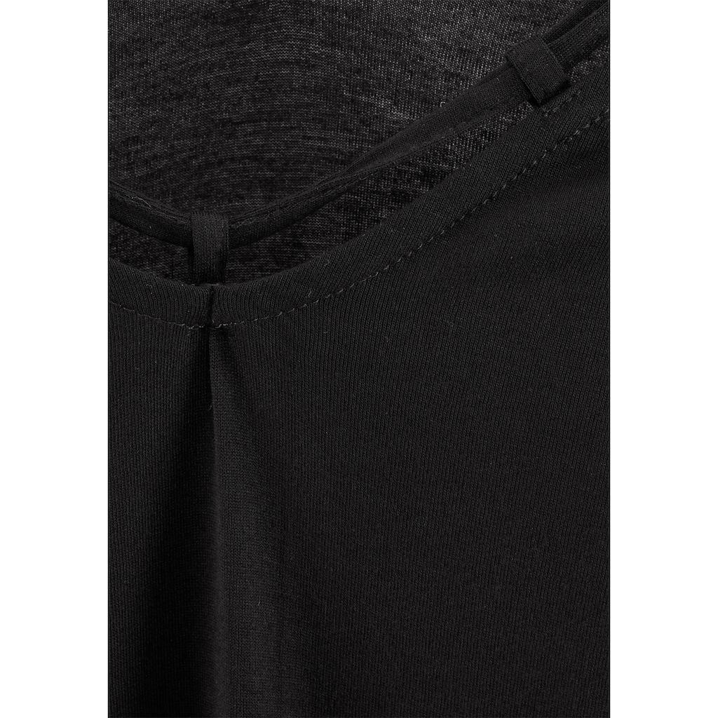 s.Oliver Beachwear T-Shirt, mit Zierbändern am Ausschnitt