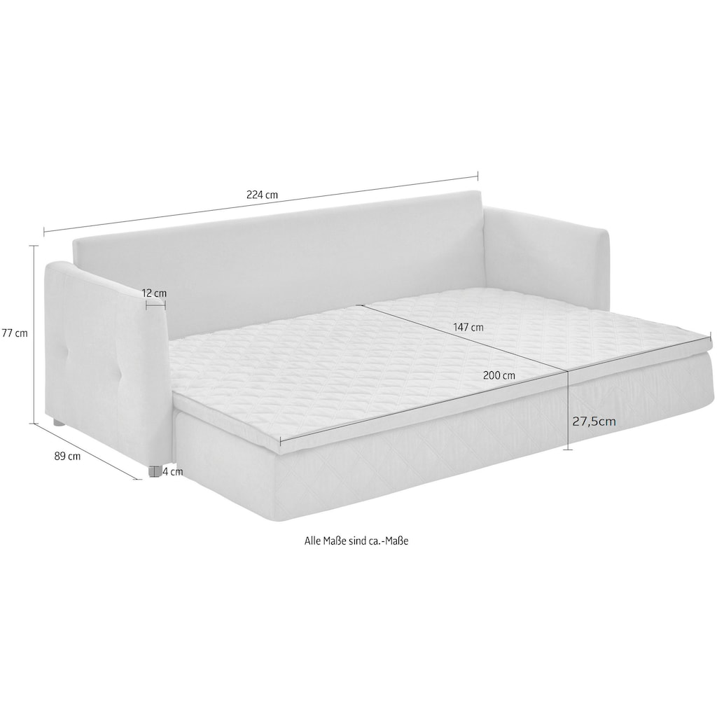 ATLANTIC home collection Schlafsofa, mit Bettfunktion, inklusive Topper mit abnehmbarem Bezug