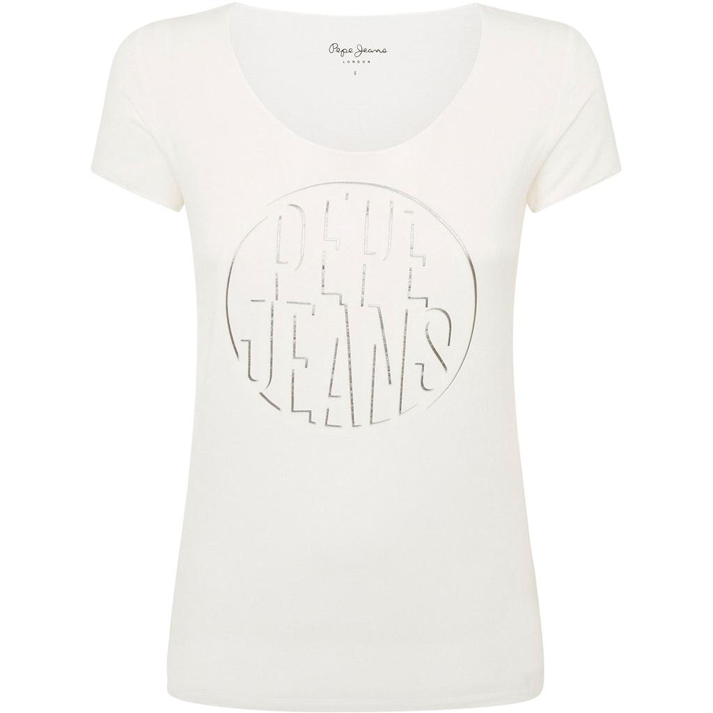 Pepe Jeans Kurzarmshirt »BELLA«, mit großem runden Frontprint mit Marken-Logo