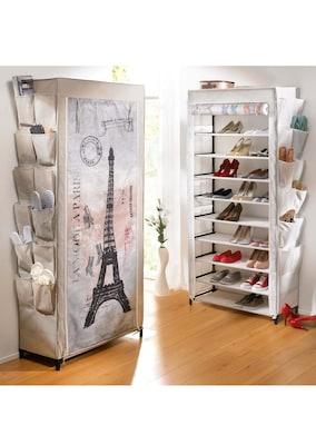 weißer Stoffkasten mit Eiffelturm für Schuhe