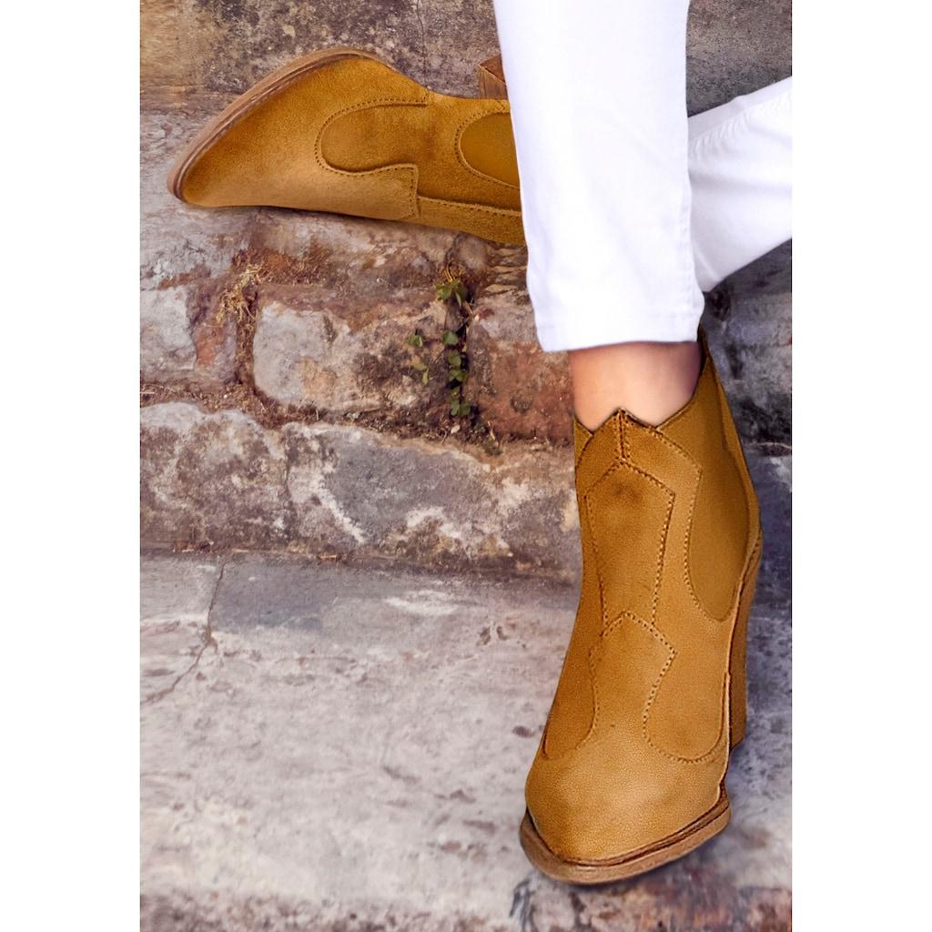 LASCANA Stiefelette, aus Leder im angesagtem Cowboy-Look mit bequemem Absatz