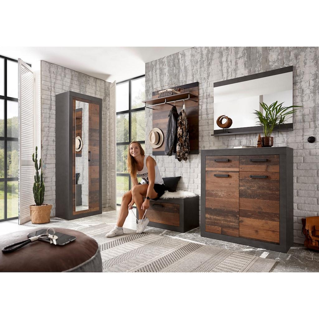 Home affaire Garderoben-Set »BROOKLYN«, (Komplett-Set, 5 tlg., bestehend aus Garderobenschrank mit Spiegel, Kommde, Spiegel, Garderobenbank und -paneel), in dekorativer Rahmenoptik