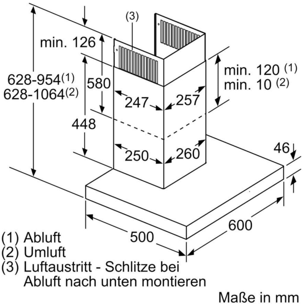 SIEMENS Wandhaube »LC67BIP50«, Serie iQ500