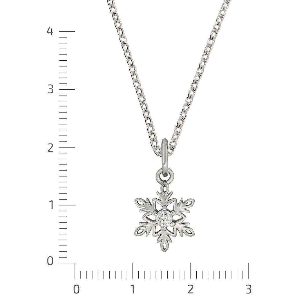 Firetti Kette mit Anhänger »Schneeflocke, glanzvolle Optik, rhodiniert«, mit Zirkonia