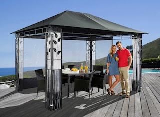 pavillon bl tter 3x4m anthrazit inkl 4 seitenteile. Black Bedroom Furniture Sets. Home Design Ideas