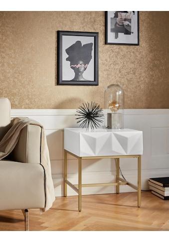 Leonique Beistelltisch »Minfi«, Schublade mit 3D-Front, auch als Nachttisch geeignet, Breite 50 cm kaufen