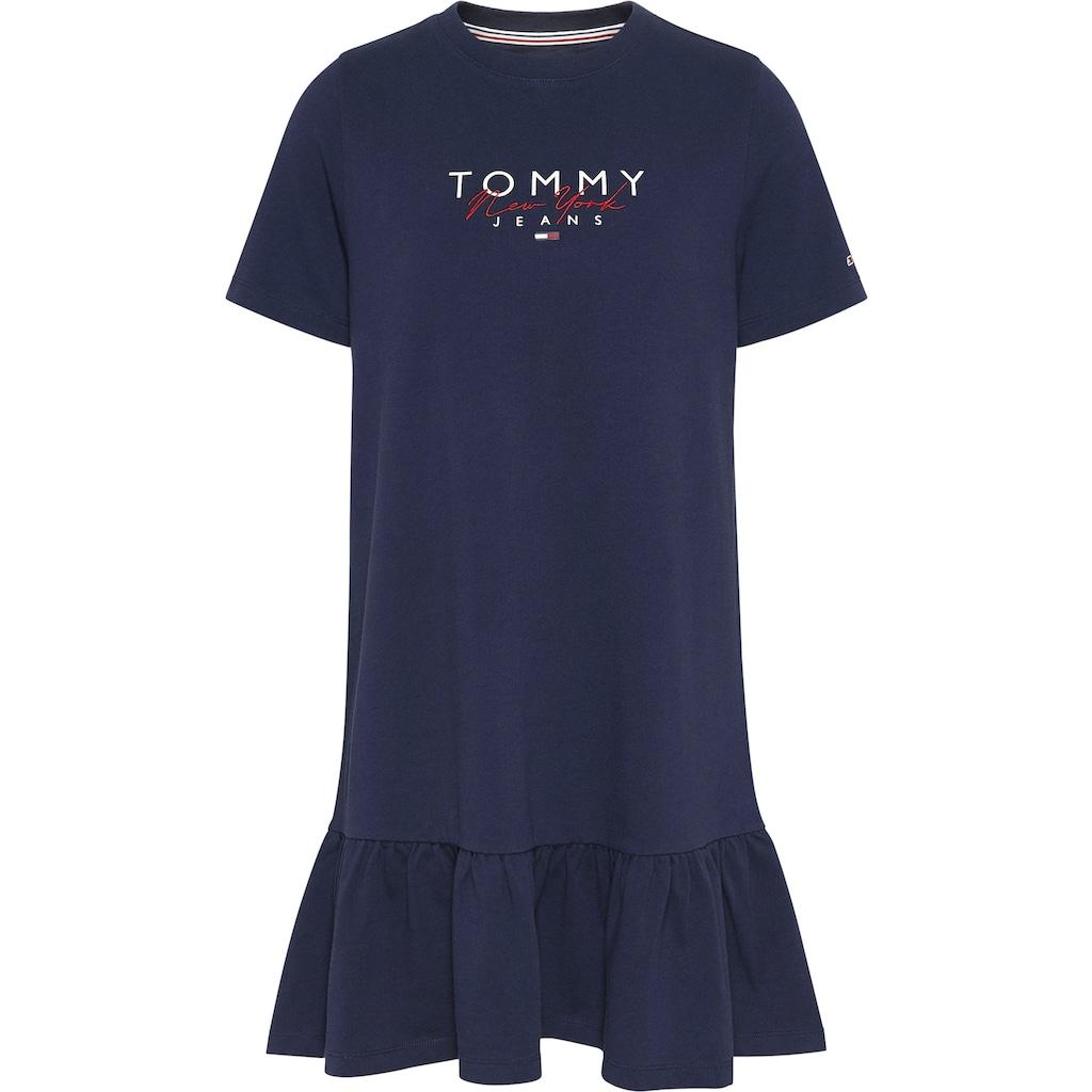 Tommy Jeans Jerseykleid »TJW LOGO PEPLUM DRESS«, mit breitem Volant & Tommy Jeans Logo-Schriftzug
