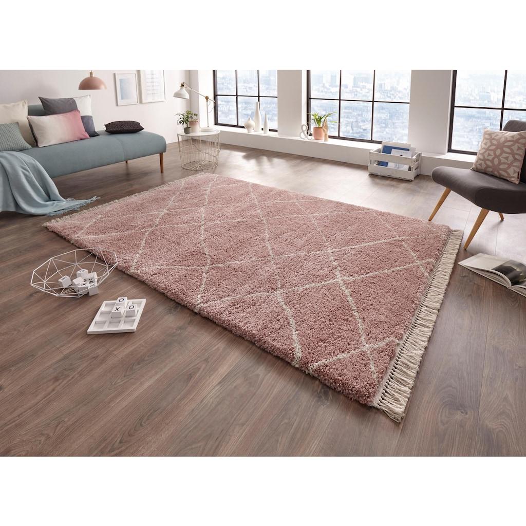 freundin Home Collection Hochflor-Teppich »Primrose«, rechteckig, 35 mm Höhe, Allover Design mit Fransen, Wohnzimmer