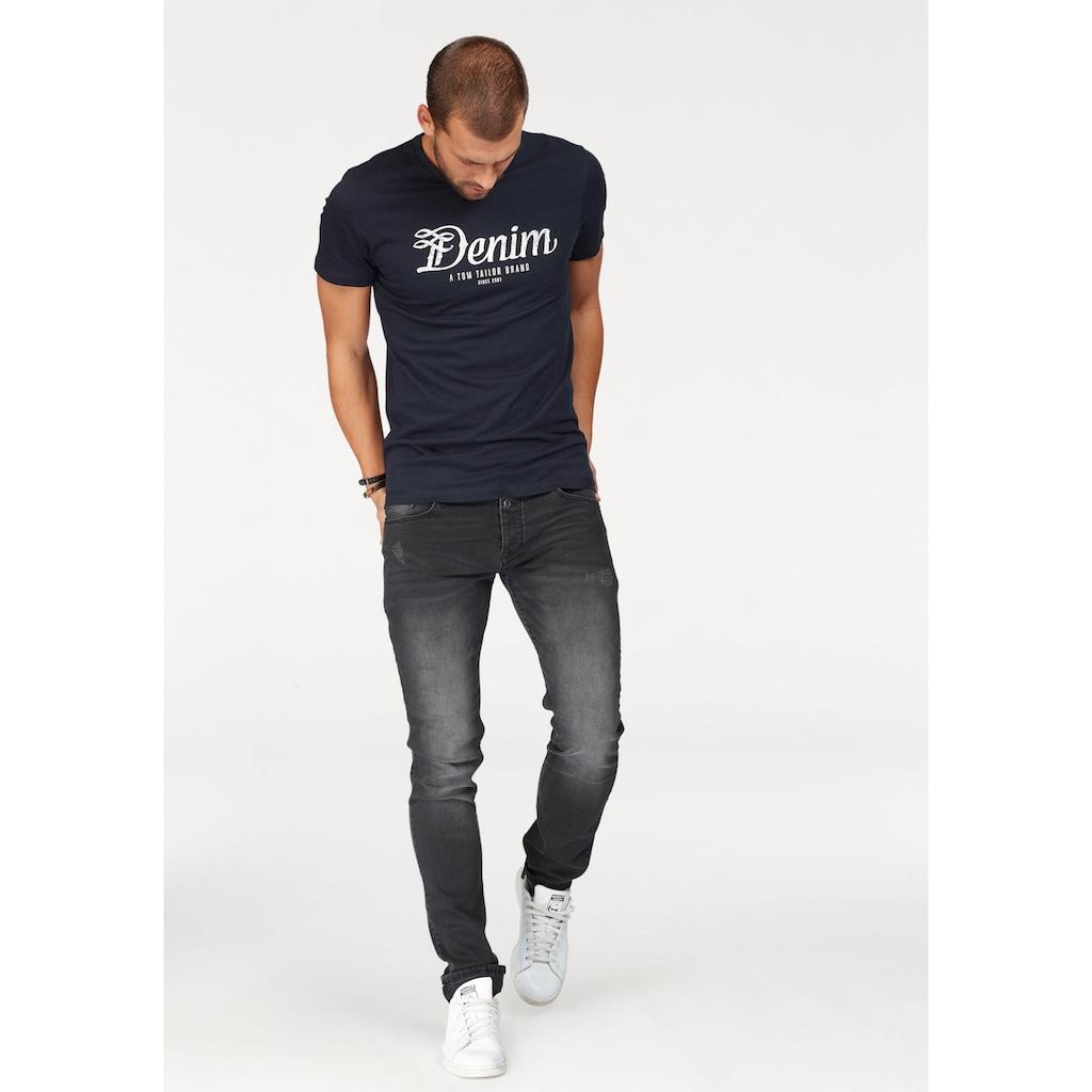 TOM TAILOR Denim Rundhalsshirt, mit Markendruck in used Optik