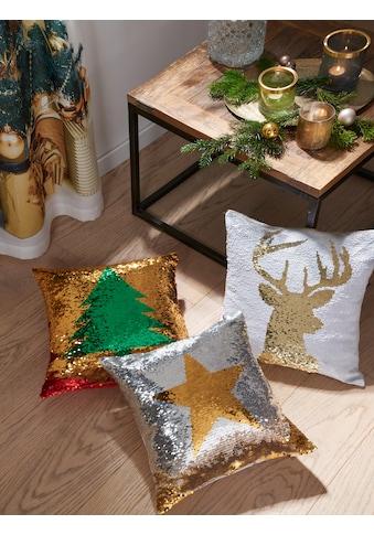 my home Kissenhülle »Weihnachtsstern«, (1 St.), mit Wende-Pailletten kaufen