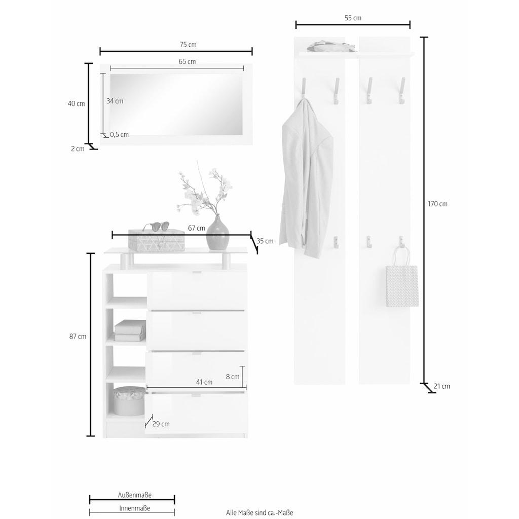 borchardt Möbel Garderoben-Set »Dolly«, (Set, 3 tlg.), mit Metallgriffen und Hochglanzfronten