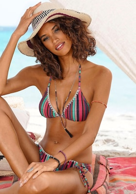 bunt-gestreifter Triangel-Bikini