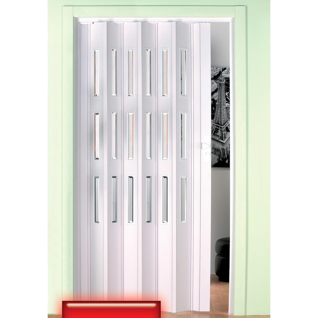 Falttür, Höhe nach Maß, weiß mit Fenstern im Facettenschliff