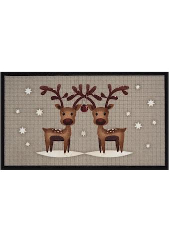 HANSE Home Fußmatte »Two Reindeers«, rechteckig, 7 mm Höhe, Schmutzfangmatte, In- und... kaufen