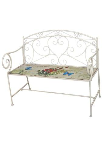 GARDEN PLEASURE Gartenbank »FLORAL«, Stahl, 110x92x51 cm, weiß kaufen