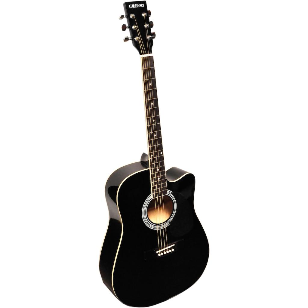 Clifton Westerngitarre »Black Cutaway«, 4/4, Komplettset