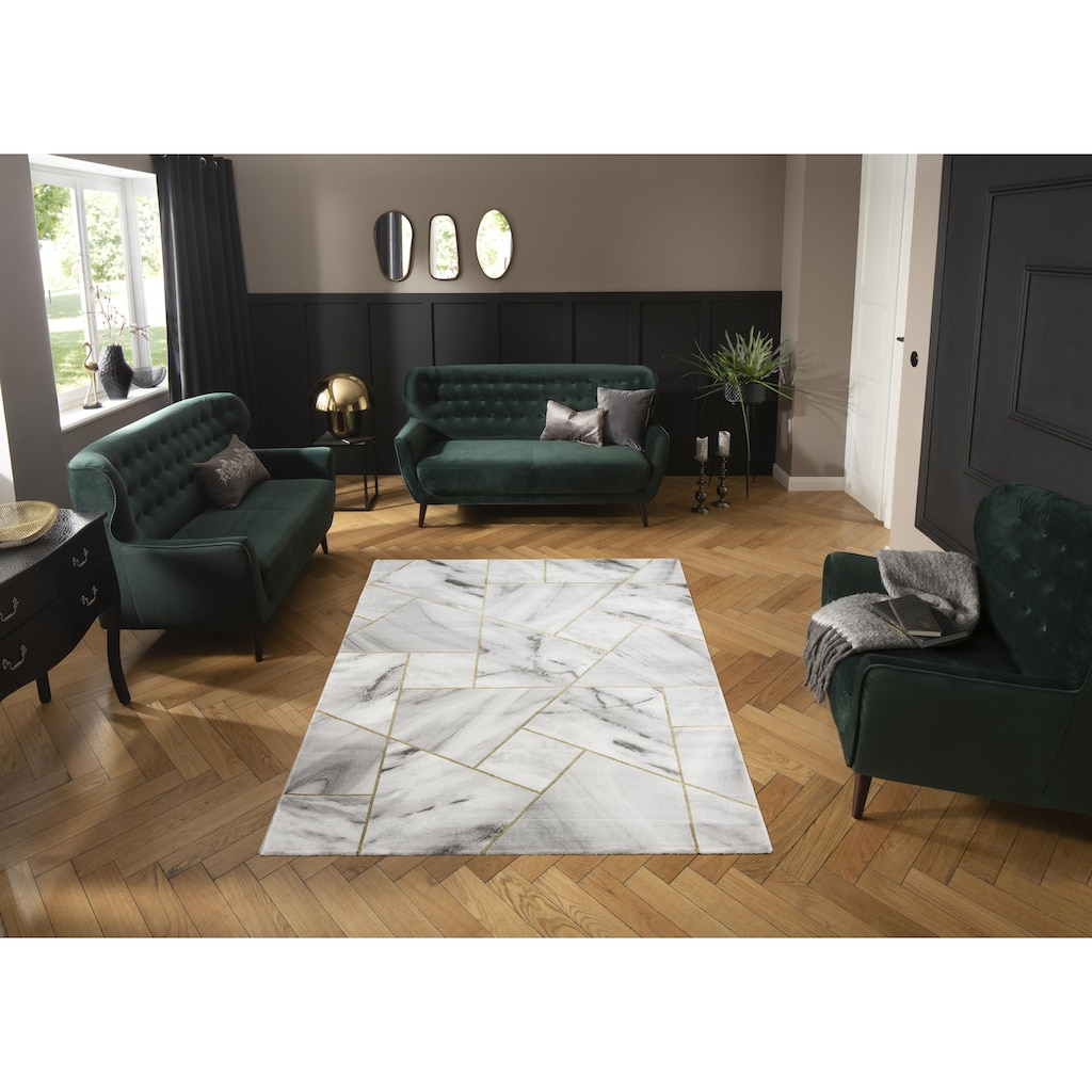 Leonique Teppich »Lerina«, rechteckig, 12 mm Höhe, moderne Marmor-Optik, Wohnzimmer