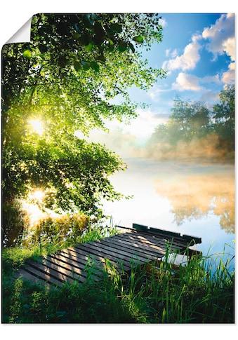 Artland Wandbild »Angelsteg am Morgen«, Gewässer, (1 St.), in vielen Größen &... kaufen