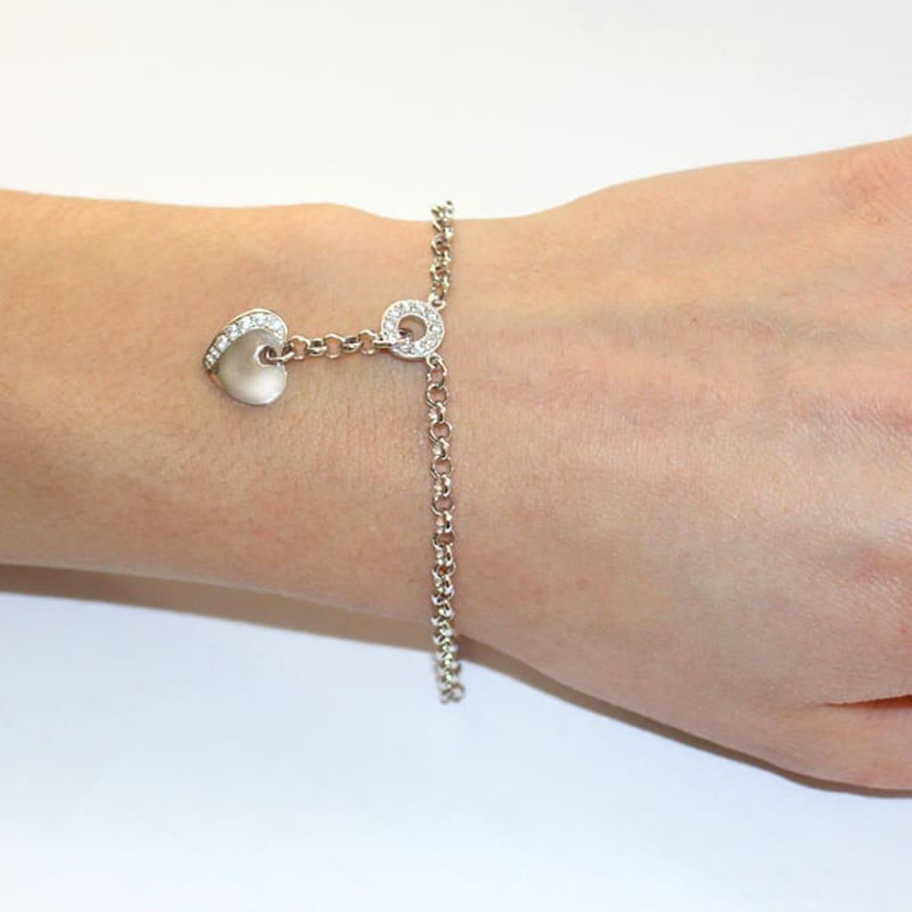 goldmaid Silberarmband, 925/- Sterlingsilber Herz klare Steine