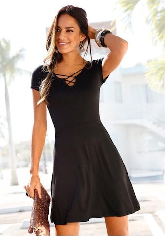 LASCANA Sommerkleid, mit Zierbändern am Ausschnitt kaufen