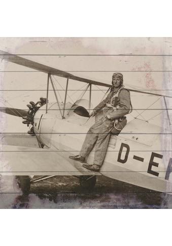 queence Holzbild »Altes Flugzeug mit Pilot«, 40x40 cm kaufen