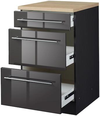 Küchenunterschrank in Schwarz Hochglanz