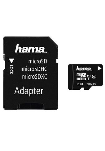 Hama microSDHC 16 GB Class 10 UHS-I 80MB/s + Adapter/Mobile kaufen