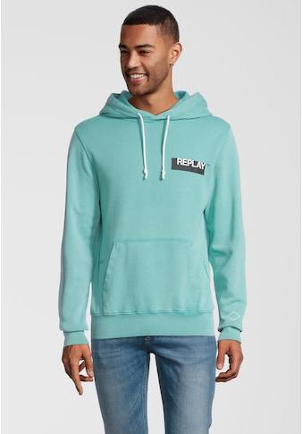 Replay Kapuzensweatshirt »mit Label-Print«, und Kängurutasche kaufen
