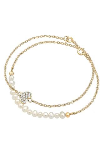 Elli Perlenarmband Set »Herz Layer Kristalle Cute 925 Silber« kaufen