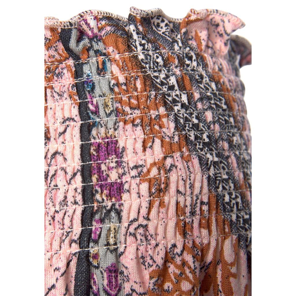 Buffalo Carmenshirt, mit breiten Smokeinsätzen