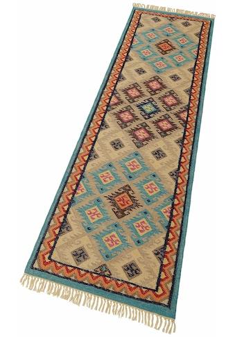 THEKO Läufer »Kelim Royal 2«, rechteckig, 5 mm Höhe, Teppich-Läufer, Flachgewebe, reine Wolle, handgewebt, mit Fransen kaufen